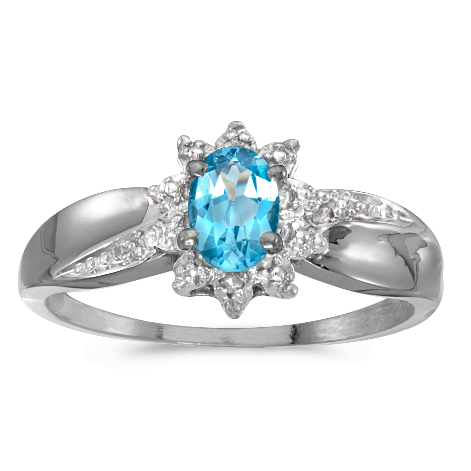 10k White Gold Oval Blue Topaz And Diamond Ring by