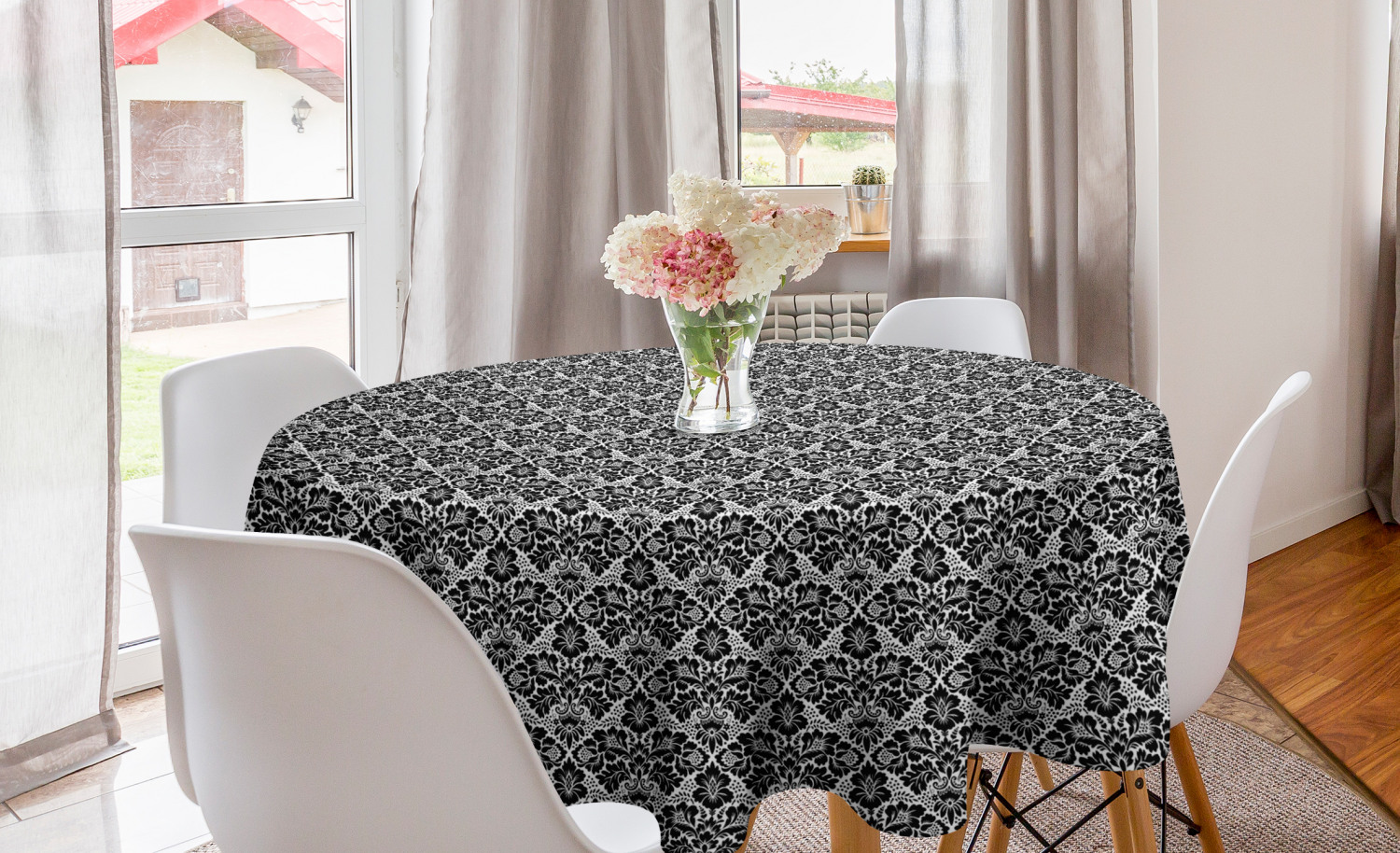 Victorian Round Tablecloth Antique Design With Botanic Plant Details Swirls And Flowers Print Circle Table Cloth Cover For Dining Room Kitchen Decor 60 Black And White By Ambesonne Walmart Com Walmart Com