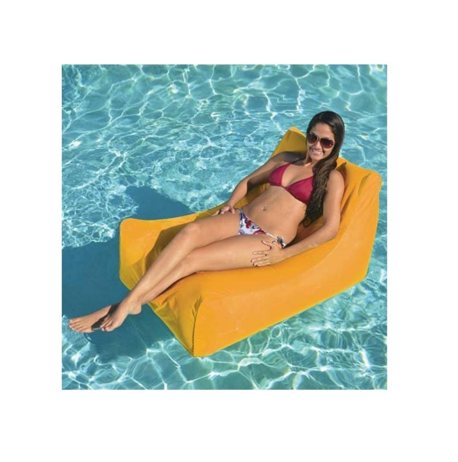 "43"" Vibrant Orange Sunsoft Inflatable Chaise Swimming Pool Float for Water or Land"