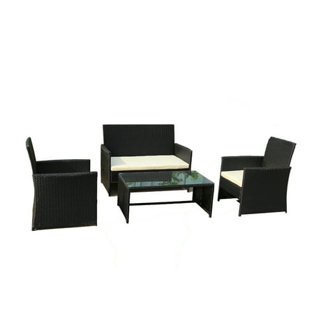 Aleko Rtcrm07blk Indoor Outdoor Seattle Rattan 4 Piece Patio Furniture And Coffee Table Set Black Color With Cream Cushions