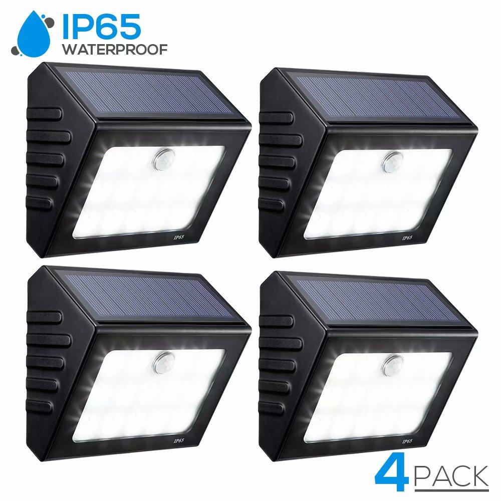 TORCHSTAR 4 Pack LED Solar Motion Sensor Lights, Wireless Outdoor Wall Lighting for Garden, Patio, Garage