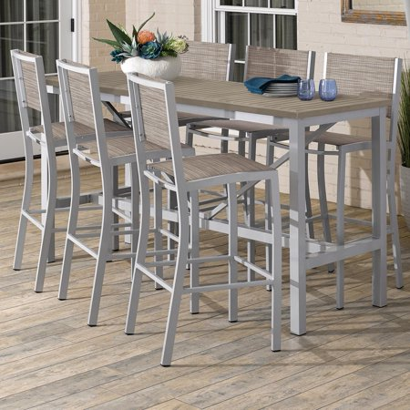 Travira 7 Piece Aluminum Patio Bar Set W/ 72 X 30 Inch Rectangular Tekwood Vintage Table By Oxford Garden