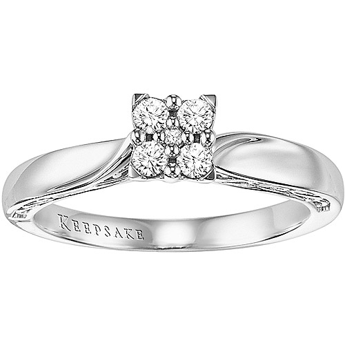 Keepsake Enchanted 1/5 Carat T.W. Diamond Princess Ring in 10kt White Gold