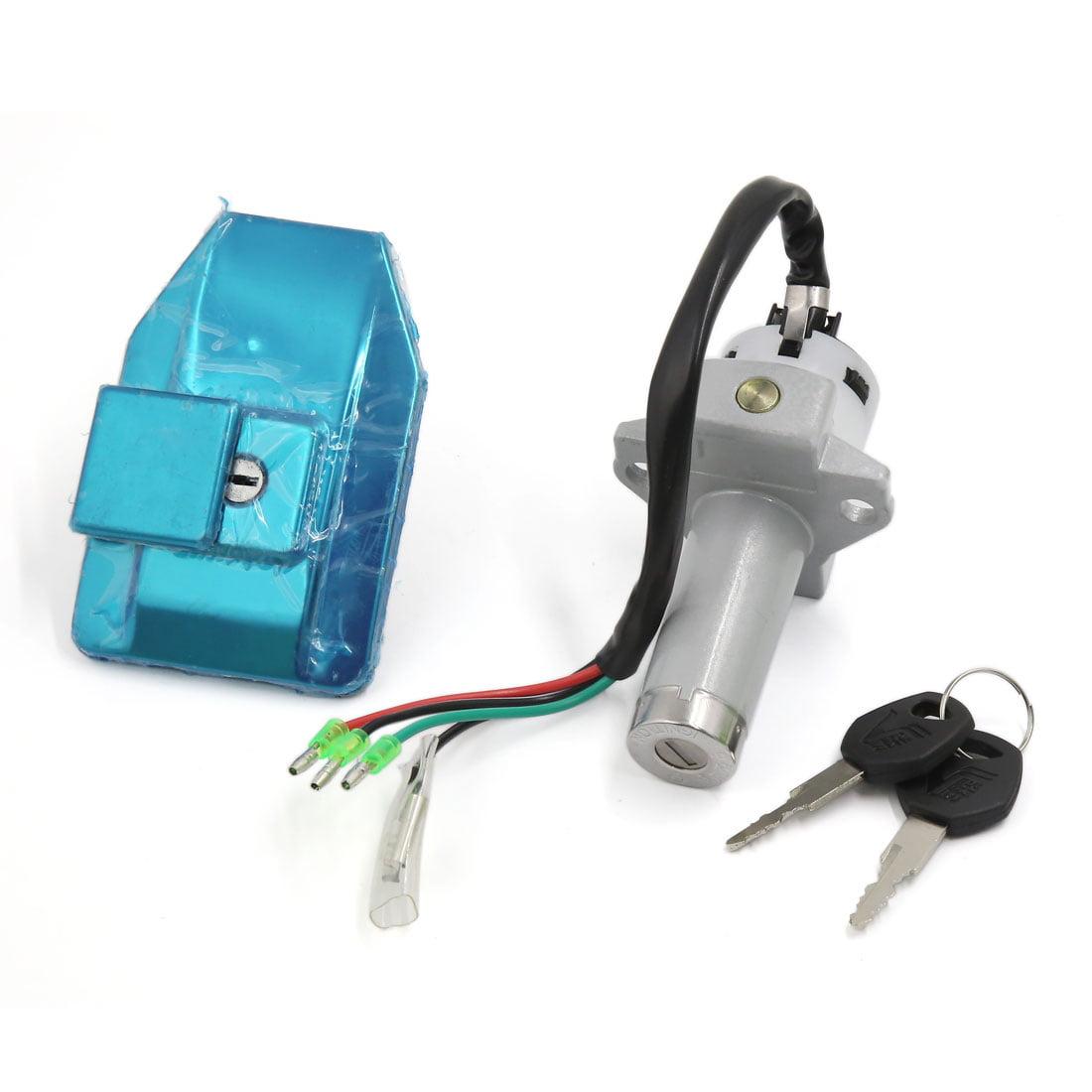 Unique Bargains Motorcycle 4 Wires Electric Door Lock Fuel Tank Cap Cover Keys Set for WY-125