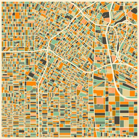 Los Angeles Map Abstract Retro City Print Wall Art By Jazzberry