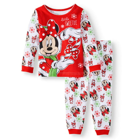 c920b1667 Disney - Minnie Mouse Christmas Long Sleeve Tight Fit Pajamas, 2pc Set (Baby  Girls) - Walmart.com