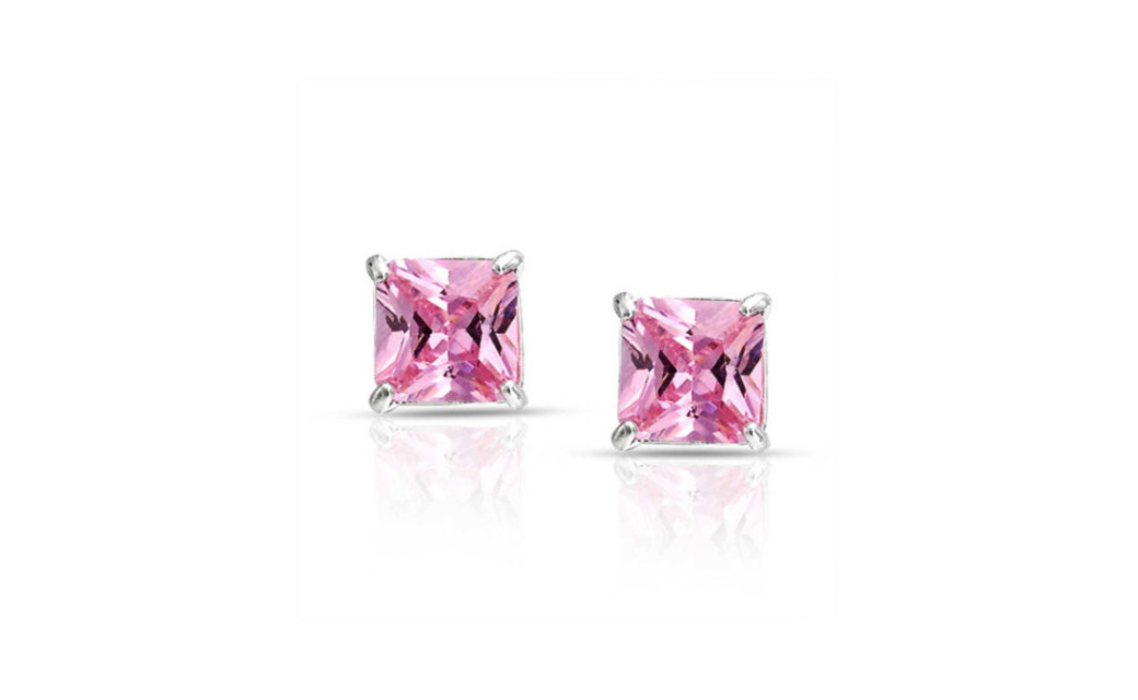 iParis Platinum Over Sterling Silver 4 Ct Princess Pink Sapphire Stud Earrings by
