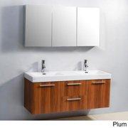 Virtu USA Midori 54-inch Double Sink Vanity Set Plum Finish