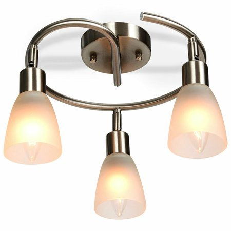 Gymax Rotatable 3-Light Ceiling Lamp Glass Shade Chandelier Spotlight