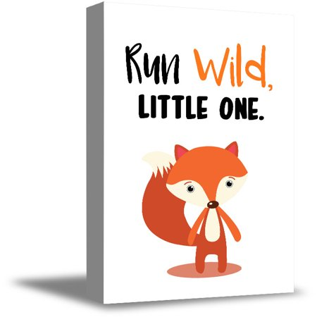 Awkward Styles Fox Canvas Artwork Ready to Hang Poster for Children Run Wild Kids Room Decor Birthday Gifts Nursery Room Decor Run Wild Little One Cute Fox Illustration Animals Canvas Run Wild Quotes](Artwork For Kids)