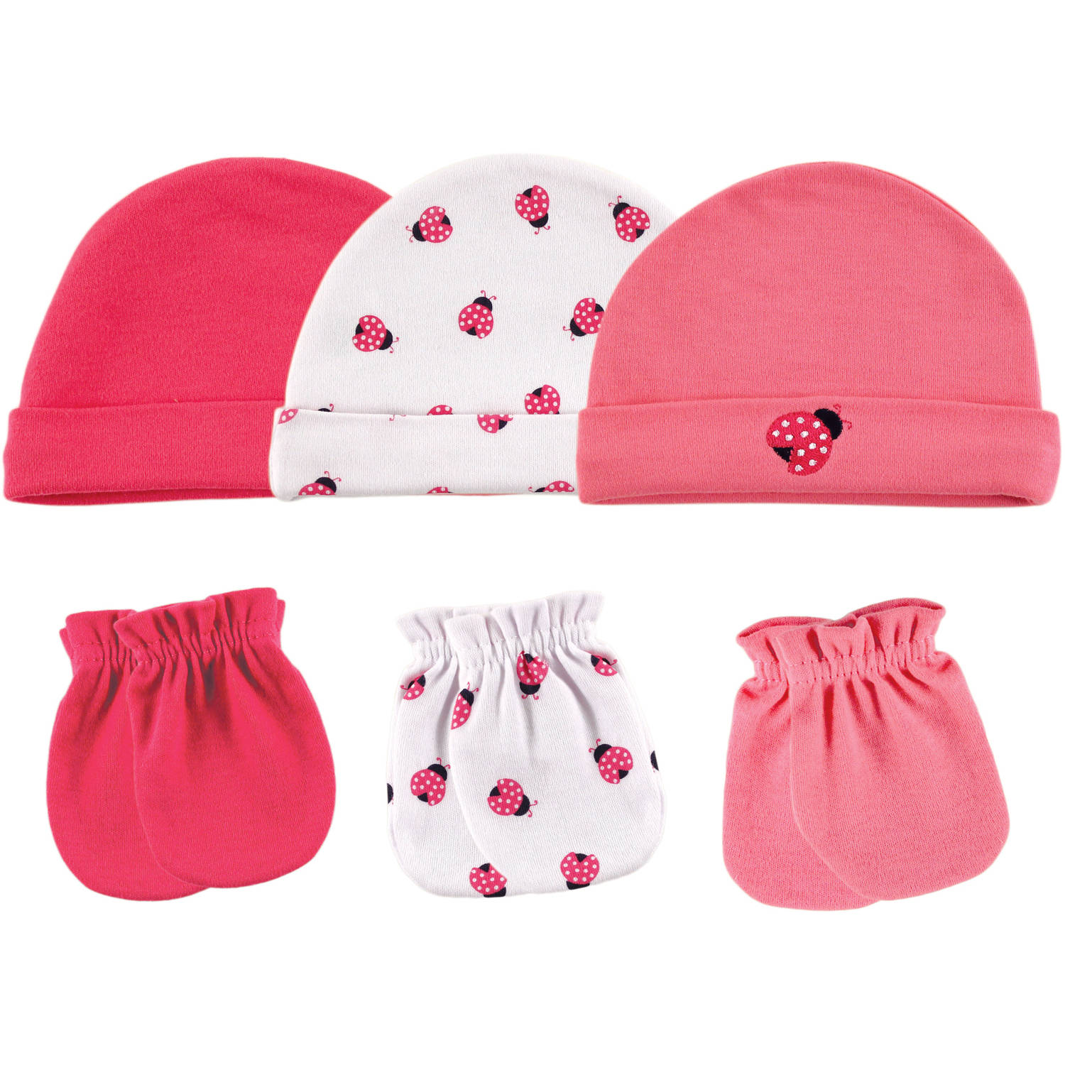 Luvable Friends Newborn Baby Girl Cap 3-Pack & Mitten 3-Pack
