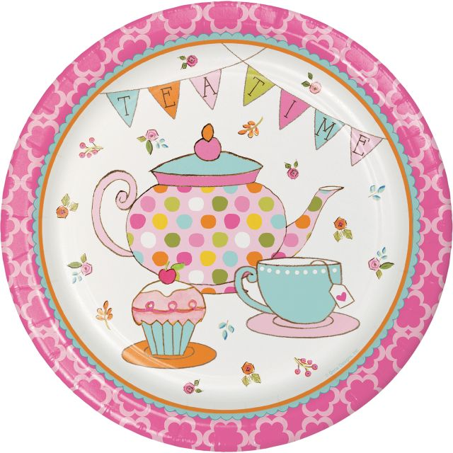 "Party Creations Tea Time, 9"" Dinner Plate, 8 Ct"