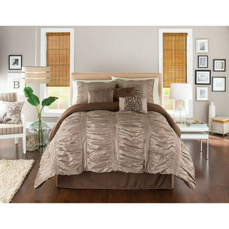 Better Homes And Gardens 7 Piece Embroidered Ruching Full Bedding Comforter Set