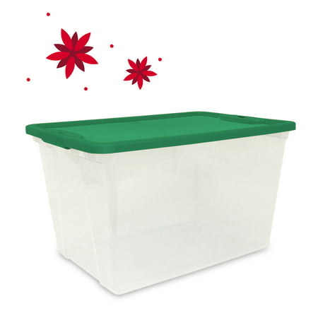 Mainstays 64 Quart Clear Tote, Green Lid And Latches