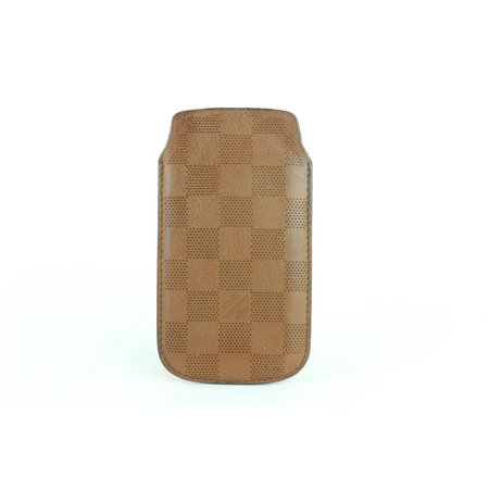 Brown Damier Perforated Leather Iphone 5 Mobile Etui Softcase 16lj1110 Tech Accessory ()
