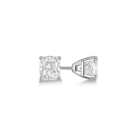 Iparis Platinum Over Sterling Silver 2 Ct Princess White Topaz Stud Earrings