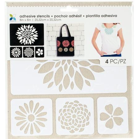 "Momenta Adhesive Stencils 8""X8""-Flowers"