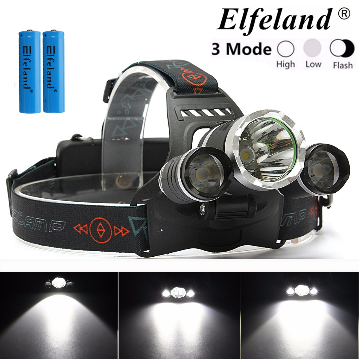 4500Lumens 3x T6 LED Headlight Headlamps Head Torch Lamp with 2Pcs 18650 Battery headight For Camping Hiking