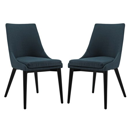 Modern Contemporary Urban Design Kitchen Room Dining Side Chair Navy Blue Fabric Wood