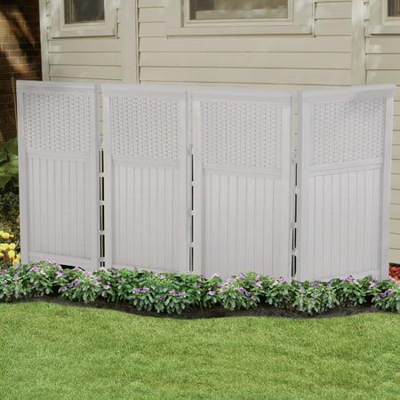 Suncast 4-Panel Outdoor Resin Wicker Screen Enclosure, White
