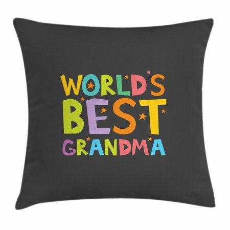Grandma Throw Pillow Cushion Cover, Best Grandmother Quote with Colorful Letters Doodle Stars on Greyscale Background, Decorative Square Accent Pillow Case, 16 X 16 Inches, Multicolor, by - Grandma Throw Pillow