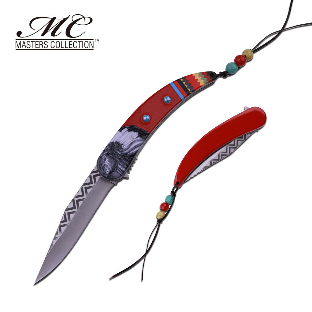 MC MASTERS COLLECTION American Indian Styled Red Spring Assisted Knife 3CR13 Steel