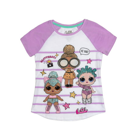 LOL Surprise Glitter Embroidered Striped Graphic Raglan T-Shirt(Little Girls & Big Girls)
