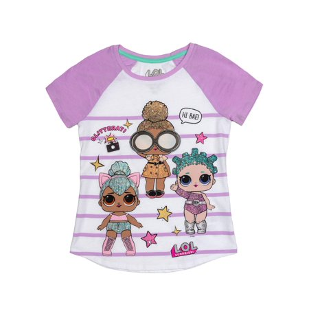 LOL Surprise Glitter Embroidered Striped Graphic Raglan T-Shirt(Little Girls & Big