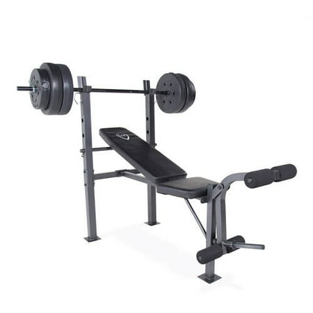 Cap Barbell Standard Bench With 100 Lb Weight Set