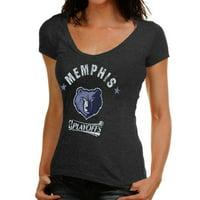 Majestic Threads Memphis Grizzlies Women's NBA Playoffs V-Neck Tri-Blend T-Shirt - Navy Blue - S