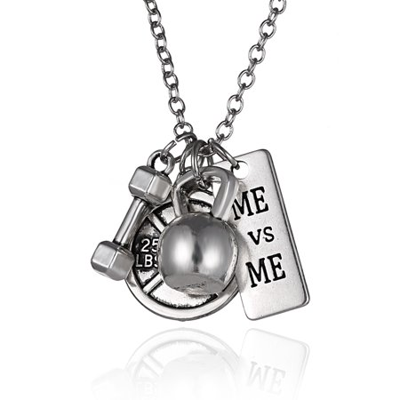 Dumbbell Quote Bell Round Pendant Chain Necklace Fitness Weightlifting Gift