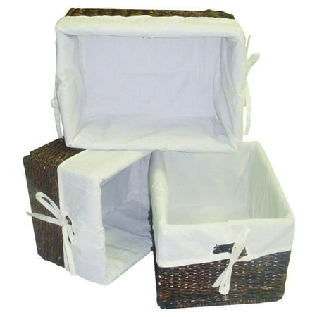 3 Pc Rectangular Storage Baskets w Cream Colored - Rectangular Storage Baskets