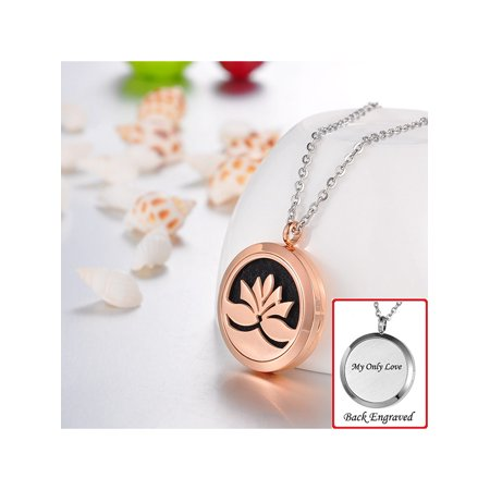 Valyria Jewelry Engraved Personalized Lotus Flower Aromatherapy