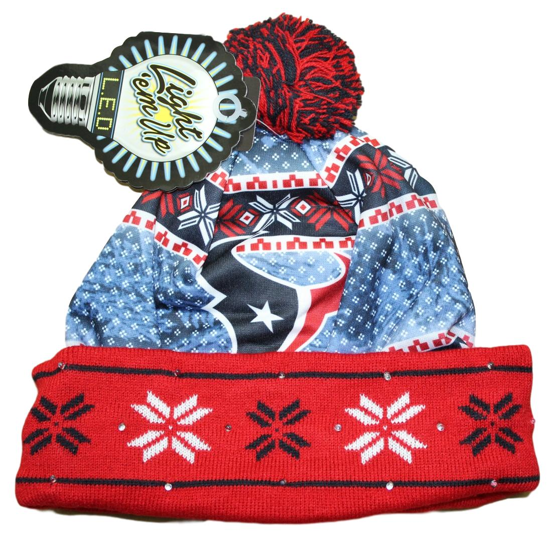 """Houston Texans NFL """"Ugly"""" LED Light Up Cuffed Knit Hat with Pom by Forever Collectibles"""