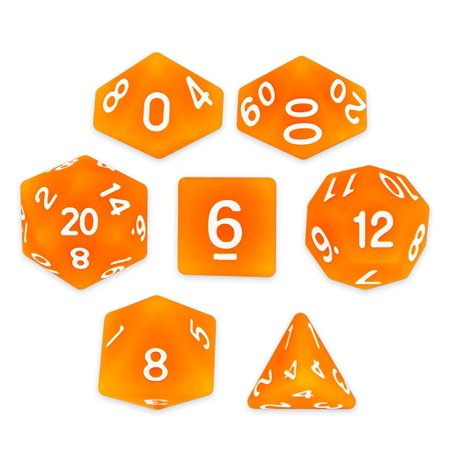 Forge Embers Set of 7 Polyhedral Dice, Semi-Translucent Matte Finish Hunter Orange Tabletop RPG Dice with Clear Display Box, FORGE EMBERS: Throw.., By Wiz Dice