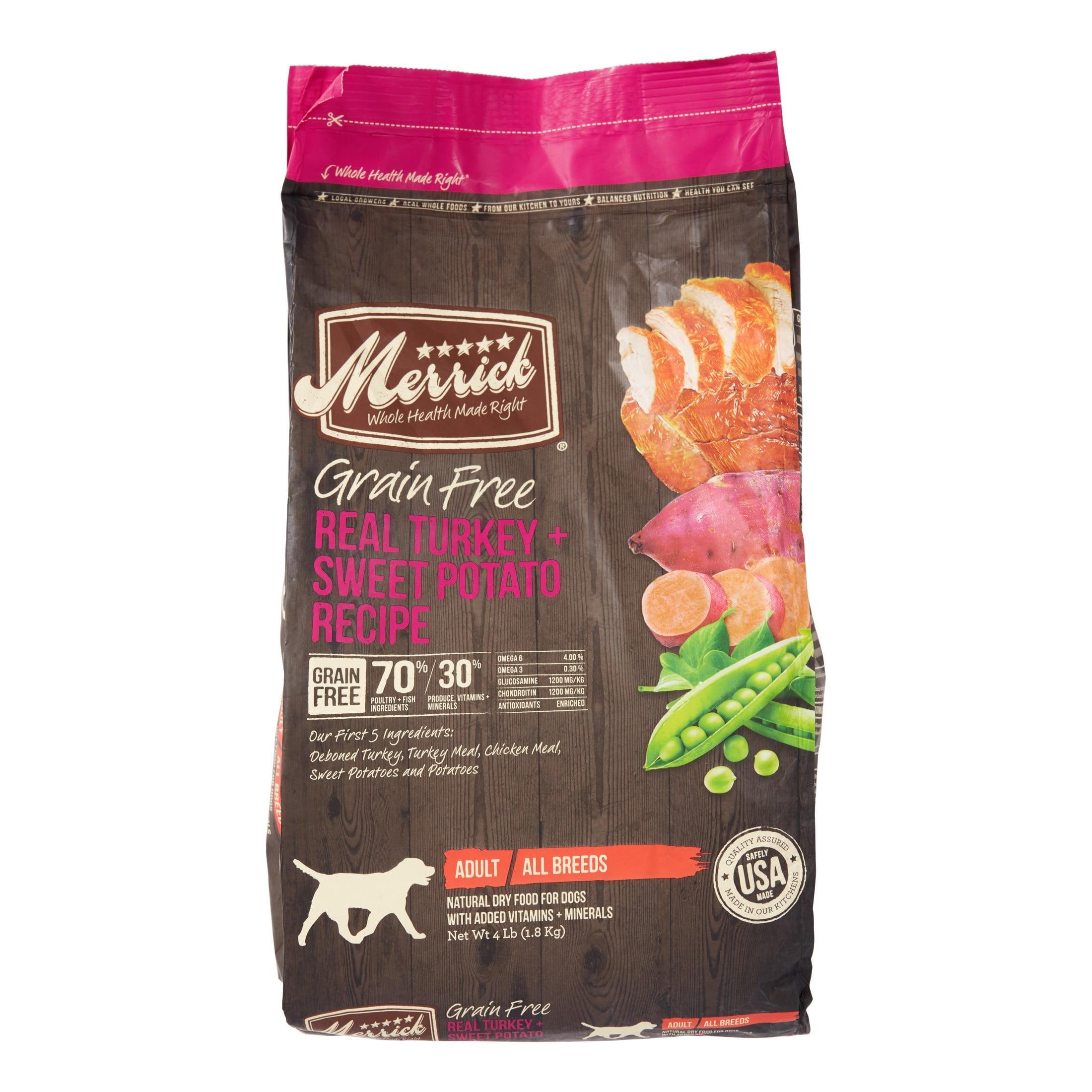 Merrick Grain-Free Real Turkey + Sweet Potato Recipe Dry Dog Food, 4 lb