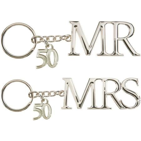 Pavilion- Mr & Mrs 50th Anniversary Gift Silver Key Chain Set of -