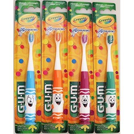 GUM Crayola Pip-Squeaks Kids Toothbrush - Ultrasoft (4 Pack - 1 of Each Character)