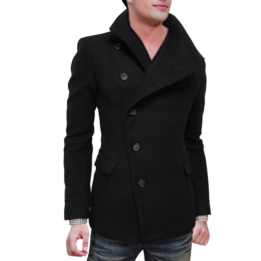 Azzuro Men's Notched Lapel Long Sleeve Slim Fit Patch Pockets Jacket Pea Coat (Size M / 40)