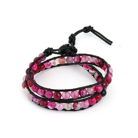 Double Wrap Around Bracelet - Chen Rai Double Wrap Shades of Purple Agate Wrap Bracelet - Clearance Final Sale