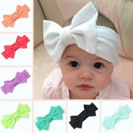Toddler Girls Kids Baby Big Bow Hairband Headband Stretch Turban Knot Head Wrap (Girls Stretch Headband)