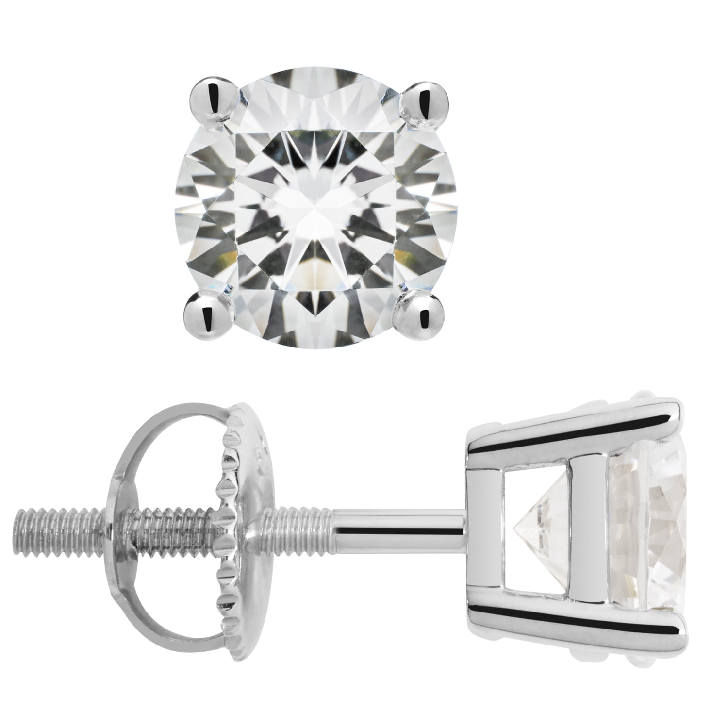 2.56 CTW With Gift Box 14K Solid White Gold Stud Earrings Screw Back Posts Round Cut Cubic Zirconia