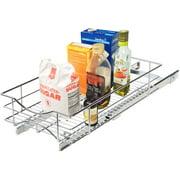 "Home Zone Kitchen 11"" W x 21"" D Under Cabinet Pull-Out Basket Organizer"