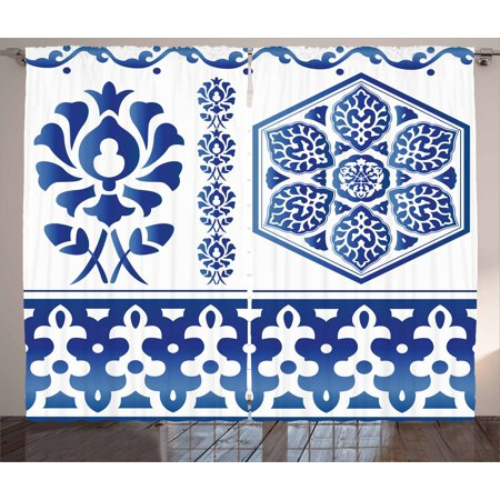 Blue and White Curtains 2 Panels Set, Antique Arabesque Art Elements Classic Floral Curves Baroque Revival Motifs, Window Drapes for Living Room Bedroom, 108W X 108L Inches, Blue White, by Ambesonne (Carved Antique)