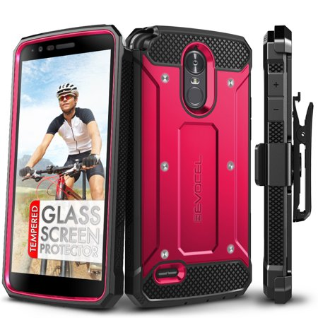 (LG G Stylo 3 Case, Evocel [Glass Screen Protector] [Belt Clip Holster] [Full Body] [Slim Profile] [Porthole Covers] Explorer Series Phone Case for LG G Stylo 3 (2017 Release), Pink)