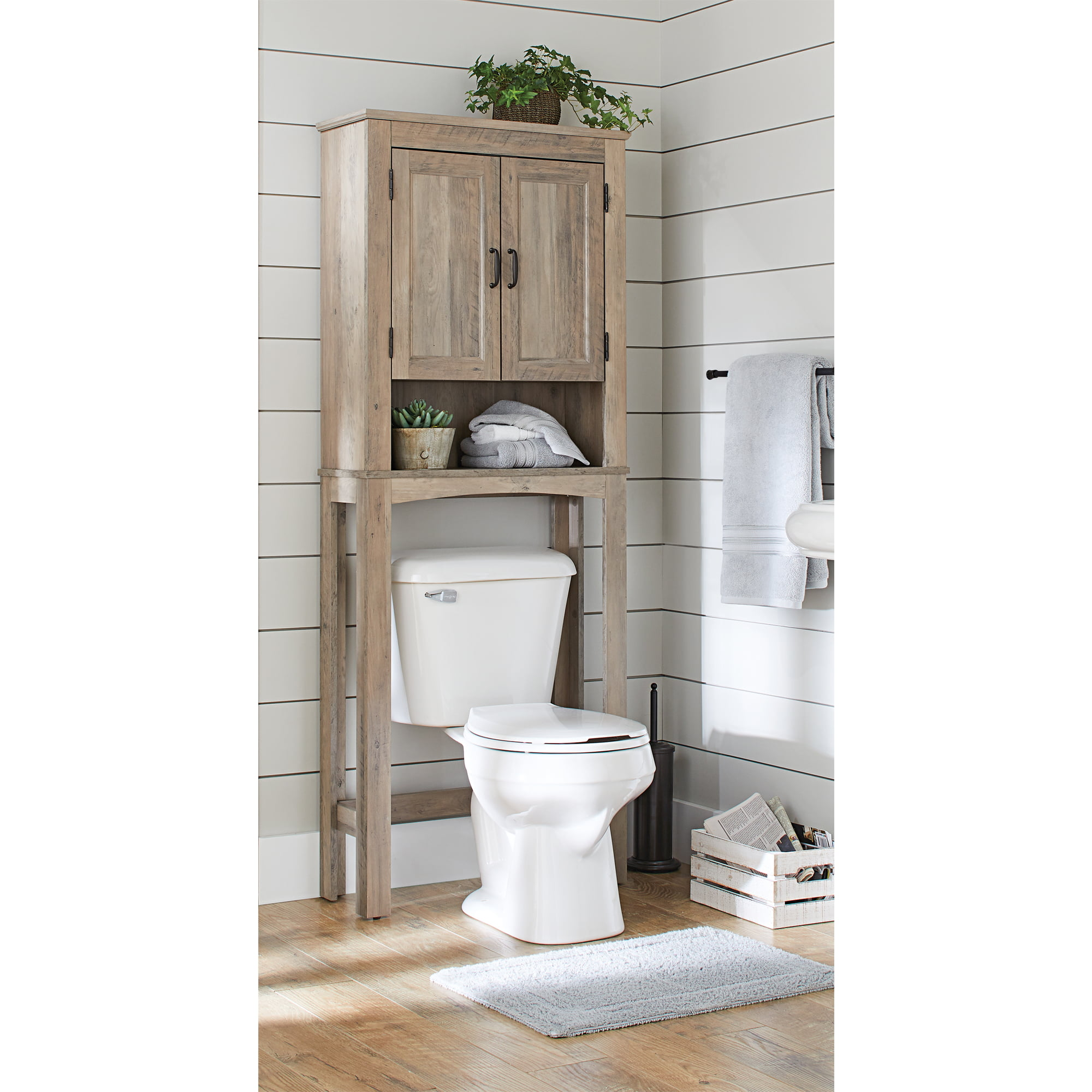 Better Homes Gardens Modern Farmhouse Over The Toilet Bathroom Space Saver With Three Fixed Shelves Rustic Gray Finish Walmart Com Walmart Com