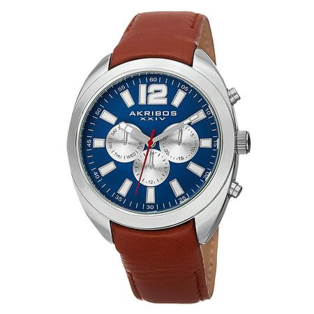 Men's Swiss Quartz Dual Time Multifunction Leather Blue Strap Watch