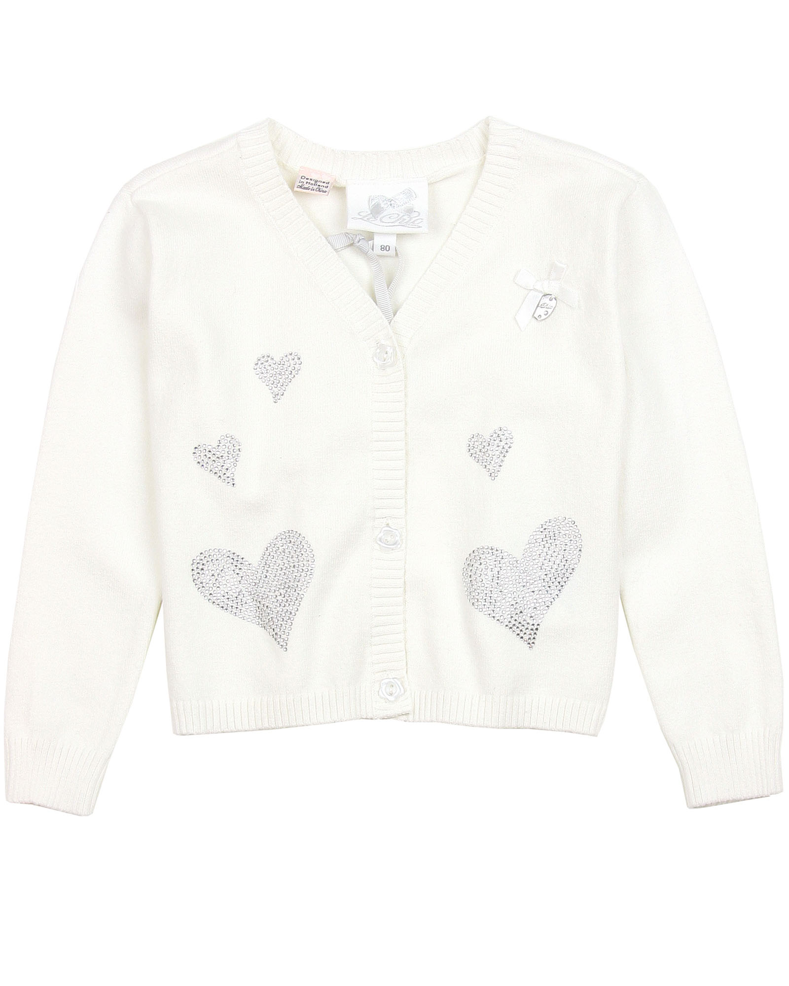 Sizes 3-14 Le Chic Girls Dark Gray Cardigan with Sequin Bows