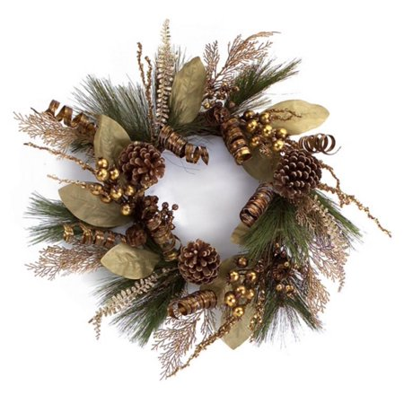 Christmas Reef.Melrose 24 Green Gold Color Pine Cone Berries And Ribbon Artificial Christmas Wreath