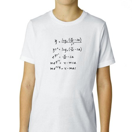 Hilarious Merry Christmas Math Equation Science Nerd Boy's Cotton Youth T-Shirt - Nerd Clothes
